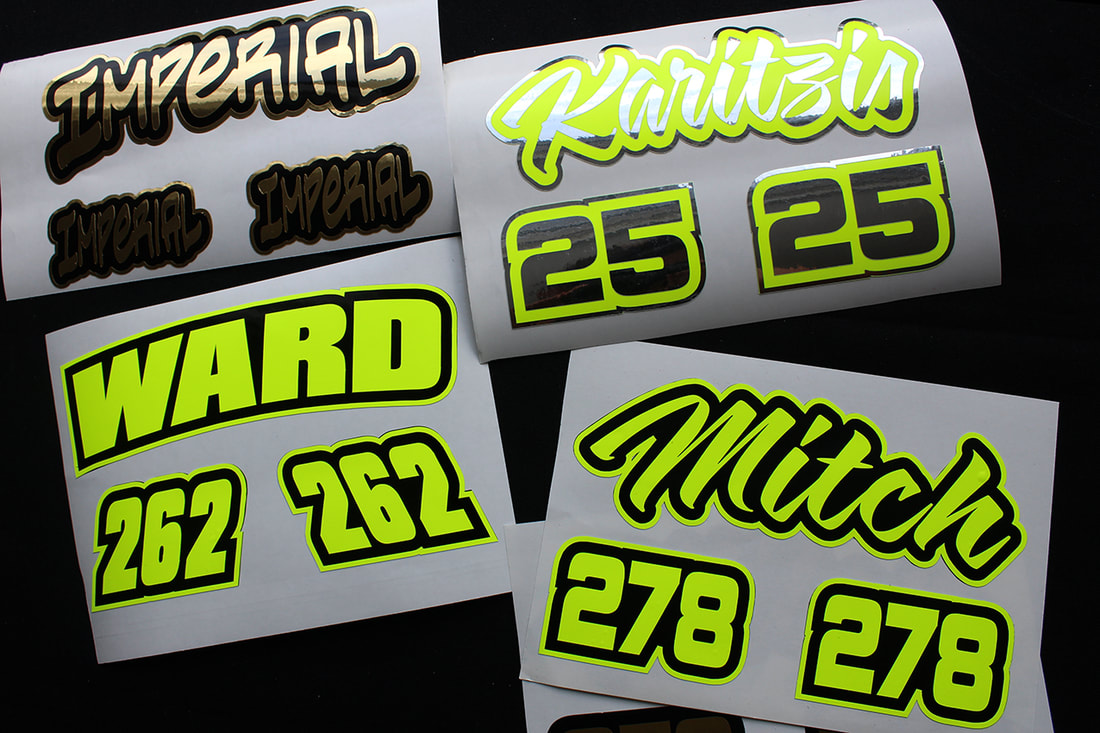PictureCustom MX Helmet Decals, Neon Yellow & Black
