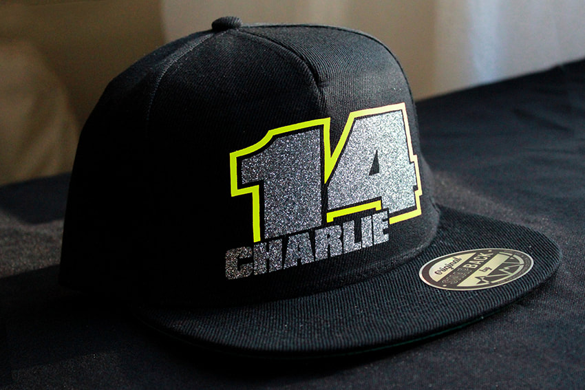 Custom MX Flatpeak Snapback Style 12, Glitter & Neon Yellow Picture